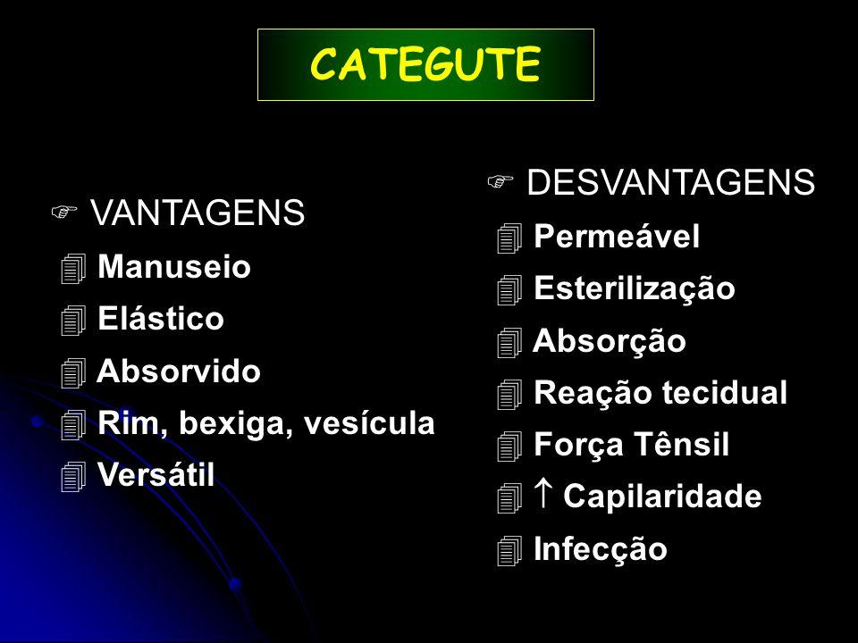 CATEGUTE  VANTAGENS 4 Manuseio 4 Elástico 4 Absorvido 4 Rim, bexiga, vesícula 4 Versátil   DESVANTAGENS 4 Permeável 4 Esterilização 4 Absorção 4 Reação tecidual 4 Força Tênsil 4  Capilaridade 4 Infecção