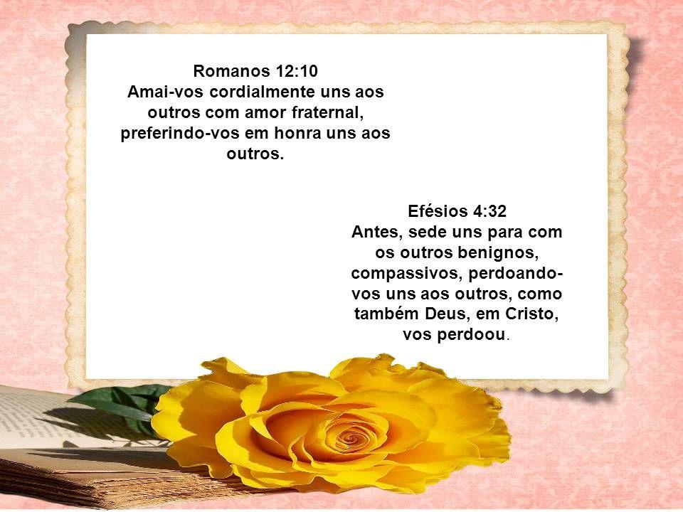 Romanos 12:10 Amai-vos cordialmente uns aos outros com amor fraternal, preferindo-vos em honra uns aos outros.