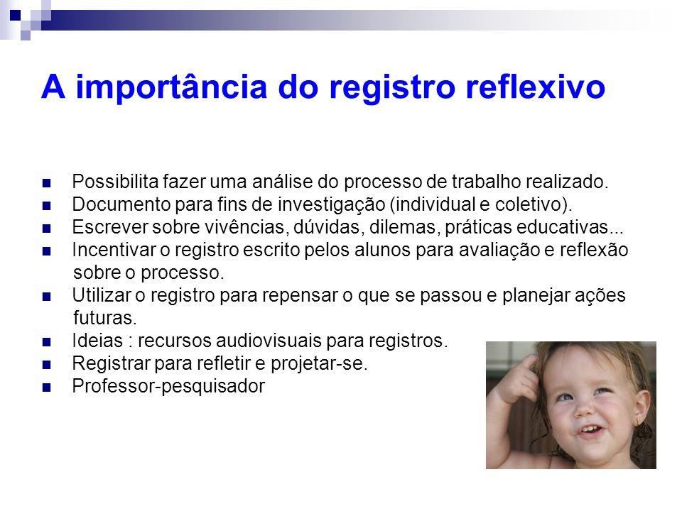 A importância do registro reflexivo Possibilita fazer uma análise do processo de trabalho realizado.