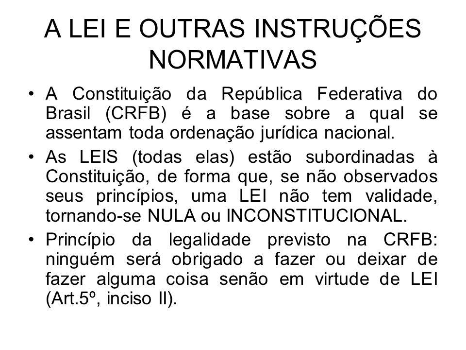 A LEI E OUTRAS INSTRUÇÕES NORMATIVAS A Constituição da República Federativa do Brasil (CRFB) é a base sobre a qual se assentam toda ordenação jurídica