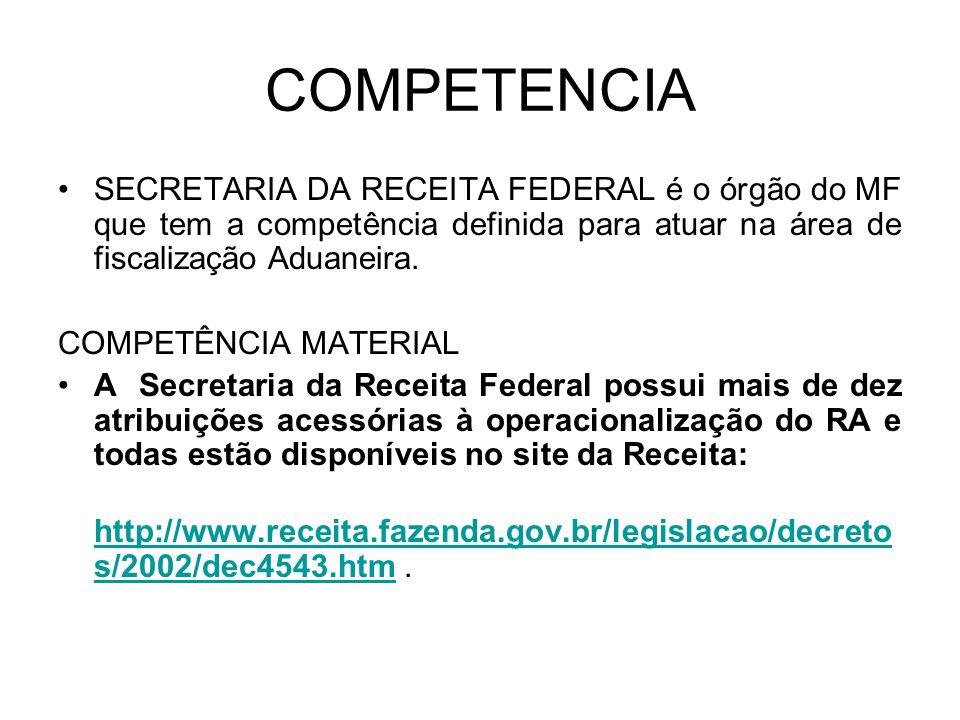 COMPETENCIA SECRETARIA DA RECEITA FEDERAL é o órgão do MF que tem a competência definida para atuar na área de fiscalização Aduaneira. COMPETÊNCIA MAT
