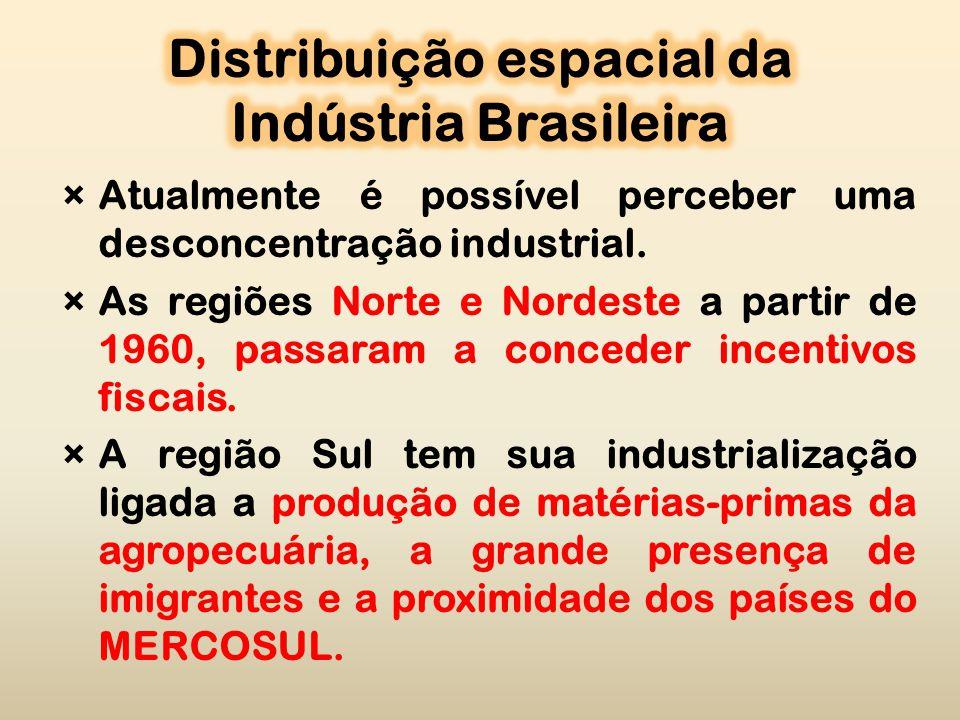 ×Atualmente é possível perceber uma desconcentração industrial.