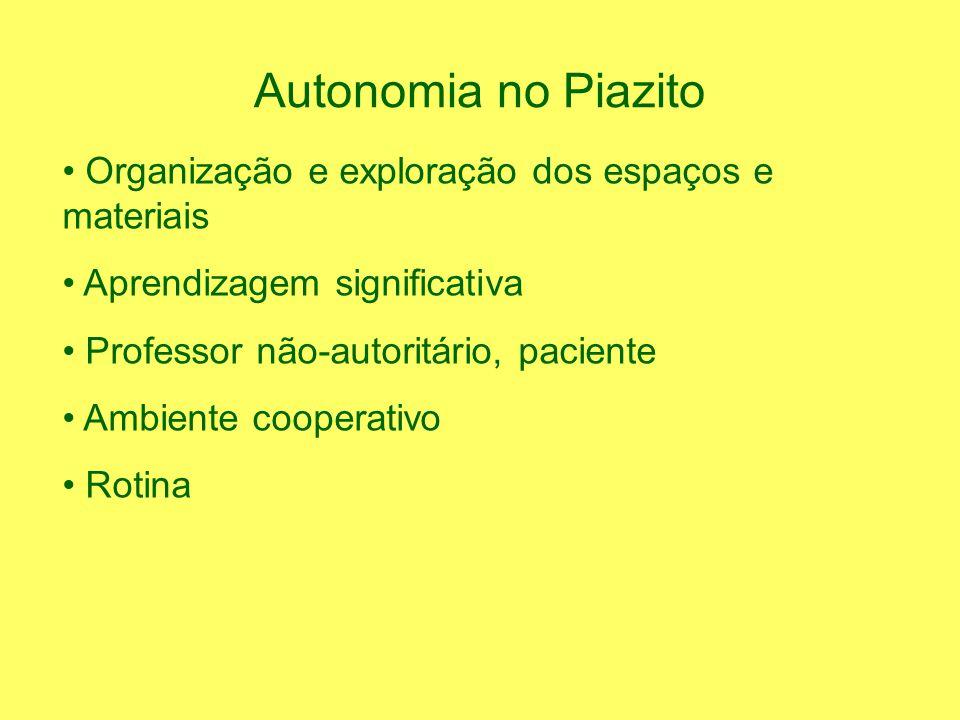 Autonomia no Piazito Organização e exploração dos espaços e materiais Aprendizagem significativa Professor não-autoritário, paciente Ambiente cooperativo Rotina