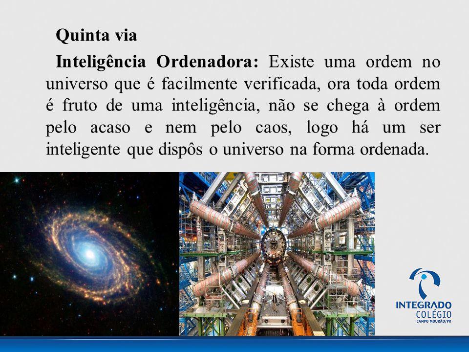 Quinta via Inteligência Ordenadora: Existe uma ordem no universo que é facilmente verificada, ora toda ordem é fruto de uma inteligência, não se chega