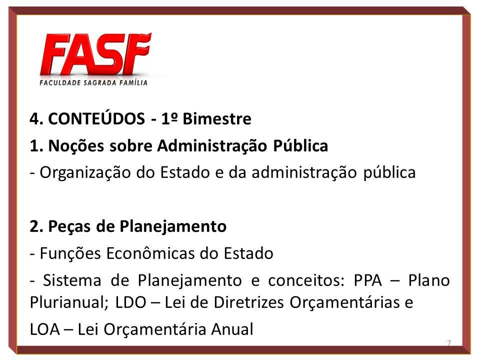 4. CONTEÚDOS - 1º Bimestre 1. Noções sobre Administração Pública - Organização do Estado e da administração pública 2. Peças de Planejamento - Funções