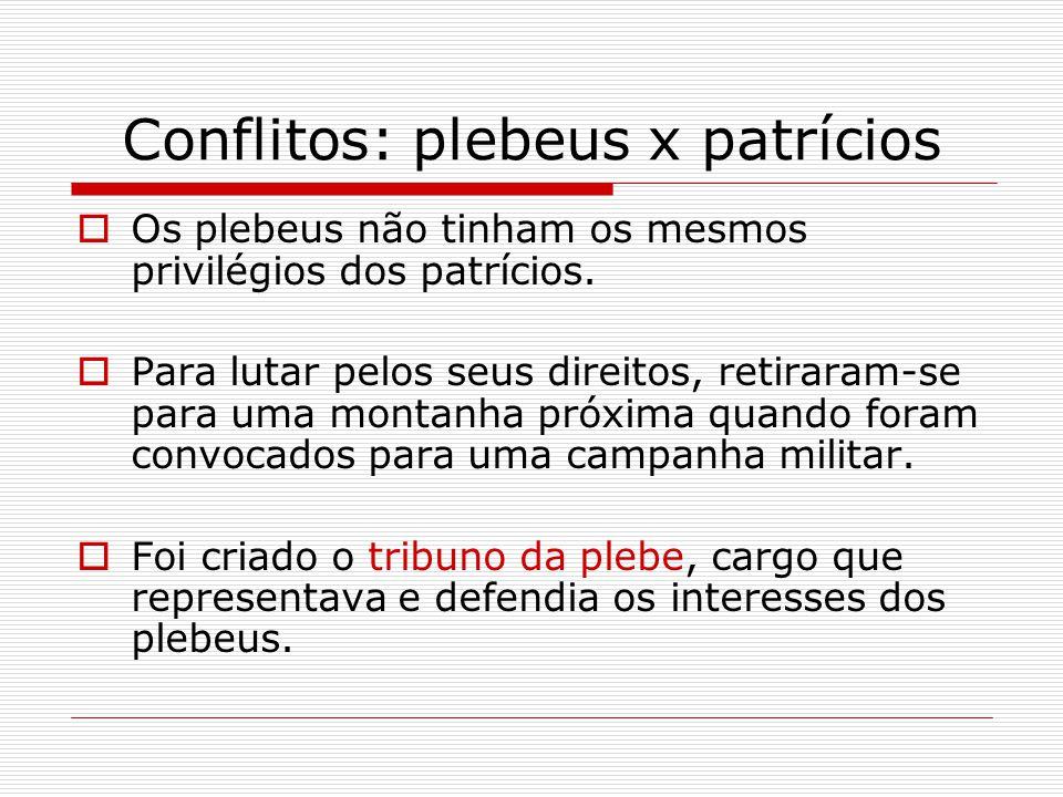 Conflitos: plebeus x patrícios  Os plebeus não tinham os mesmos privilégios dos patrícios.