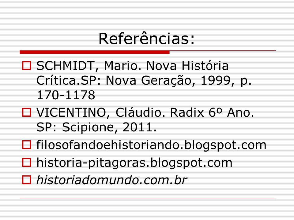 Referências:  SCHMIDT, Mario.Nova História Crítica.SP: Nova Geração, 1999, p.