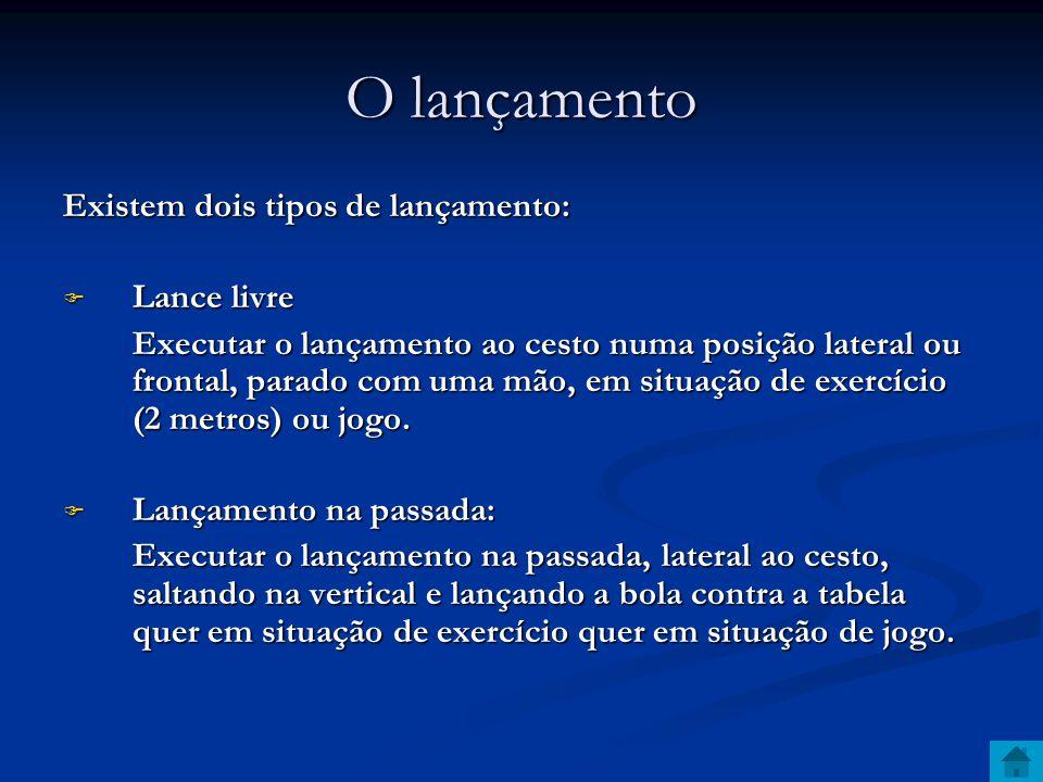 O lançamento Existem dois tipos de lançamento:  Lance livre Executar o lançamento ao cesto numa posição lateral ou frontal, parado com uma mão, em situação de exercício (2 metros) ou jogo.