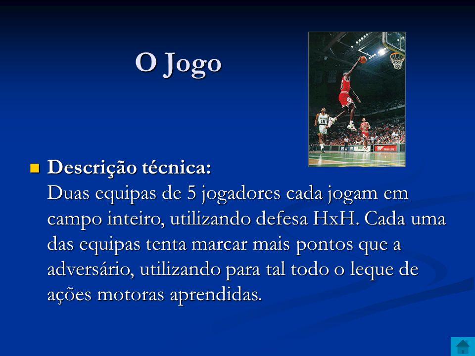 O Jogo O Jogo Descrição técnica: Duas equipas de 5 jogadores cada jogam em campo inteiro, utilizando defesa HxH.