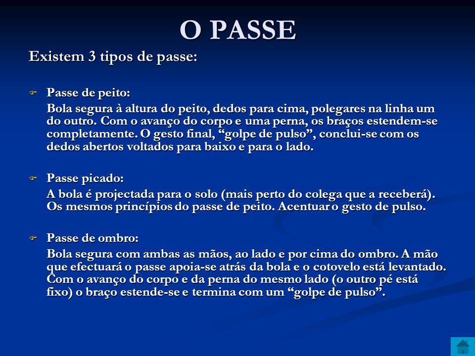 O PASSE Existem 3 tipos de passe:  Passe de peito: Bola segura à altura do peito, dedos para cima, polegares na linha um do outro.