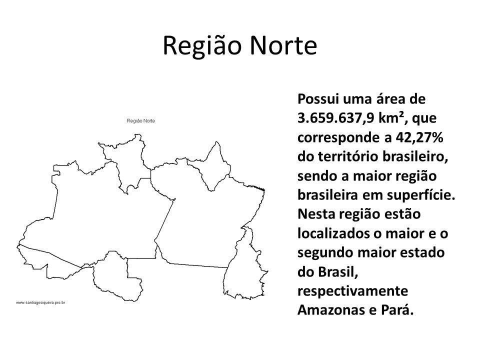 Região Norte Possui uma área de 3.659.637,9 km², que corresponde a 42,27% do território brasileiro, sendo a maior região brasileira em superfície.