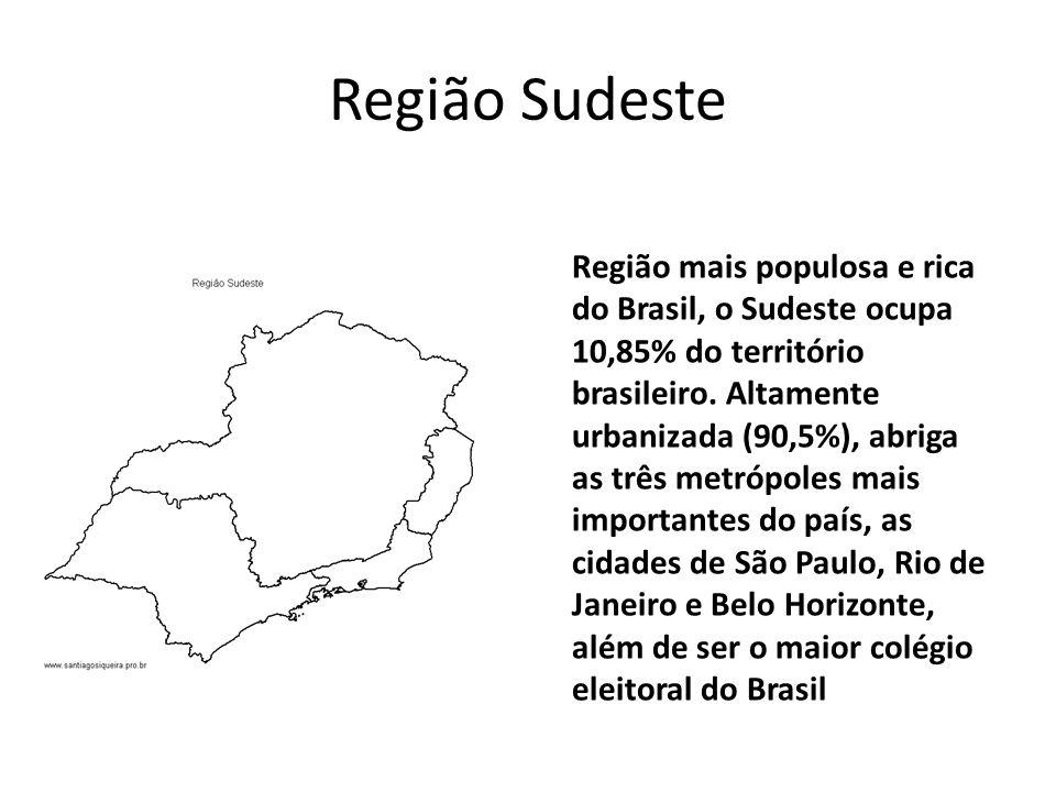 Região Sudeste Região mais populosa e rica do Brasil, o Sudeste ocupa 10,85% do território brasileiro.