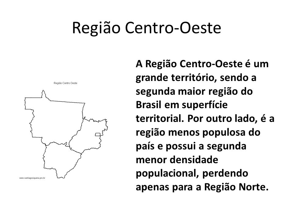 Região Centro-Oeste A Região Centro-Oeste é um grande território, sendo a segunda maior região do Brasil em superfície territorial.