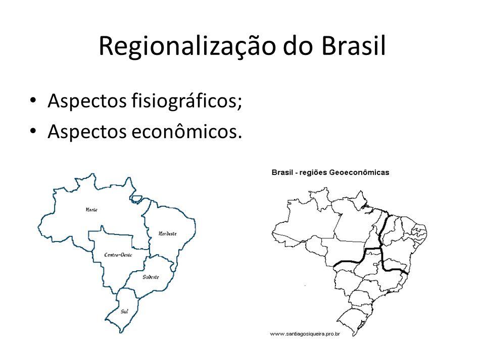 Regionalização do Brasil Aspectos fisiográficos; Aspectos econômicos.