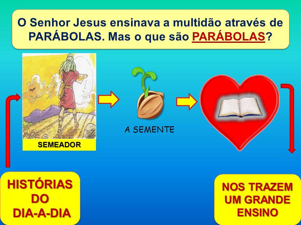 O Senhor Jesus ensinava a multidão através de PARÁBOLAS. Mas o que são PARÁBOLAS? HISTÓRIAS DO DIA-A-DIA DIA-A-DIA HISTÓRIAS DO DIA-A-DIA DIA-A-DIA SE