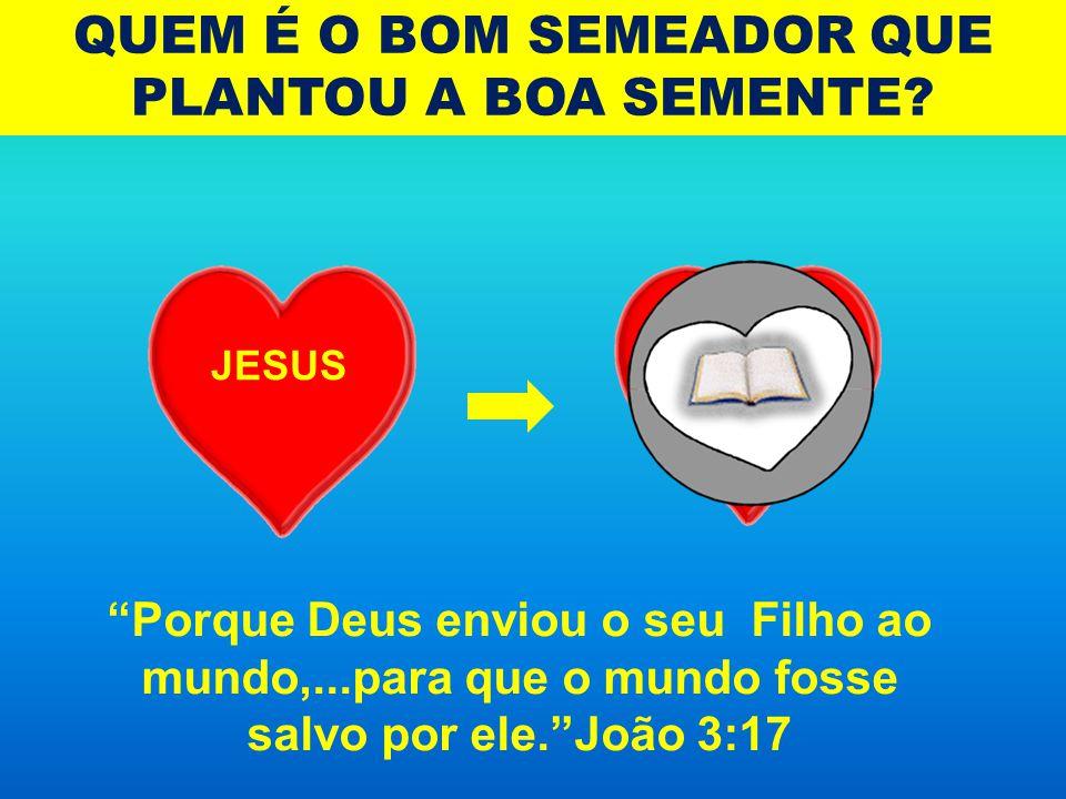 """QUEM É O BOM SEMEADOR QUE PLANTOU A BOA SEMENTE? JESUS """"Porque Deus enviou o seu Filho ao mundo,...para que o mundo fosse salvo por ele.""""João 3:17"""