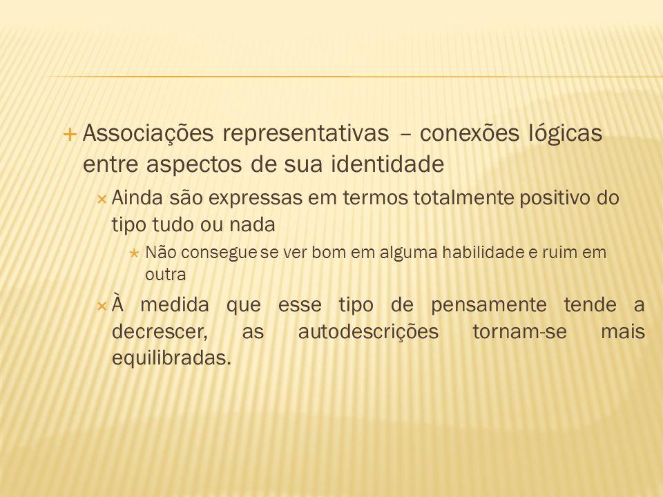  Associações representativas – conexões lógicas entre aspectos de sua identidade  Ainda são expressas em termos totalmente positivo do tipo tudo ou