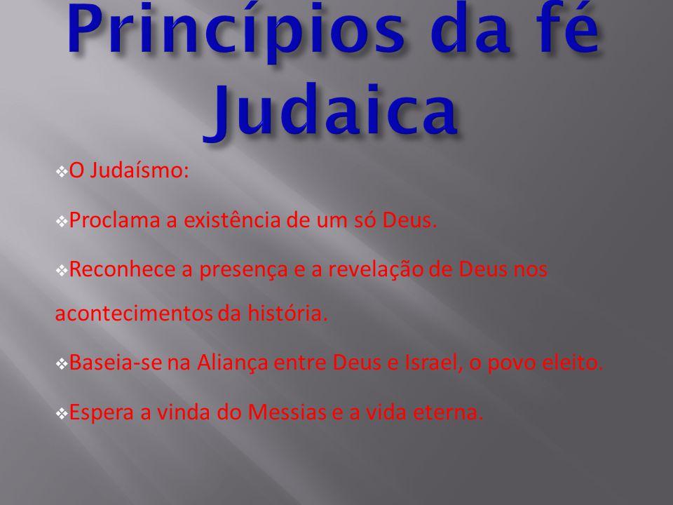  O Judaísmo:  Proclama a existência de um só Deus.  Reconhece a presença e a revelação de Deus nos acontecimentos da história.  Baseia-se na Alian