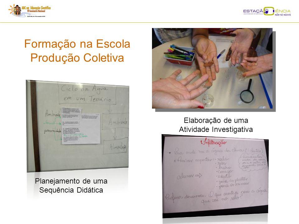 Formação na Escola Produção Coletiva Planejamento de uma Sequência Didática Elaboração de uma Atividade Investigativa