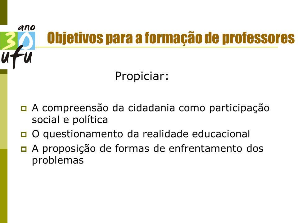 Objetivos para a formação de professores Propiciar:  A compreensão da cidadania como participação social e política  O questionamento da realidade educacional  A proposição de formas de enfrentamento dos problemas