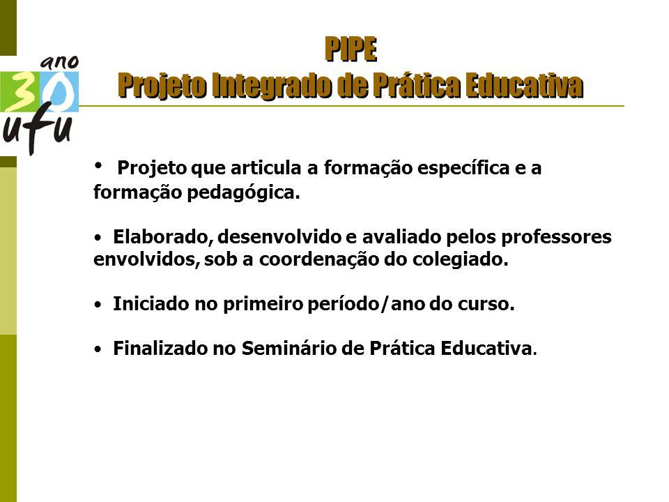 PIPE Projeto Integrado de Prática Educativa Projeto que articula a formação específica e a formação pedagógica.