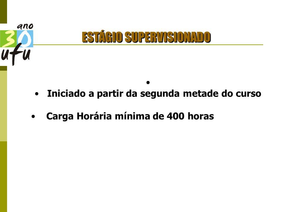 ESTÁGIO SUPERVISIONADO Iniciado a partir da segunda metade do curso Carga Horária mínima de 400 horas
