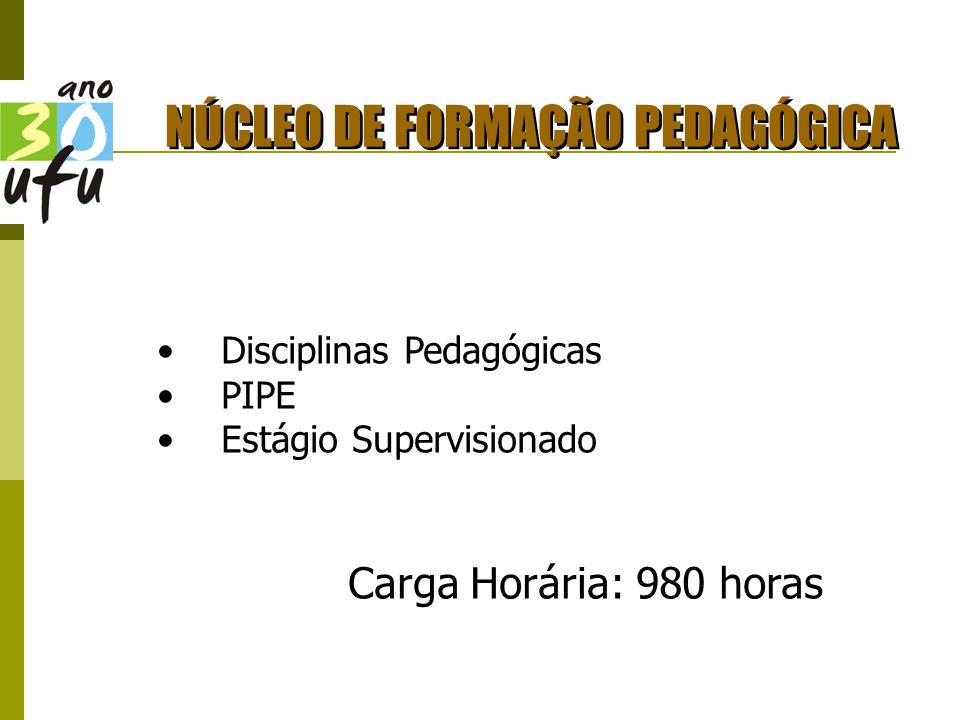 NÚCLEO DE FORMAÇÃO PEDAGÓGICA Disciplinas Pedagógicas PIPE Estágio Supervisionado Carga Horária: 980 horas