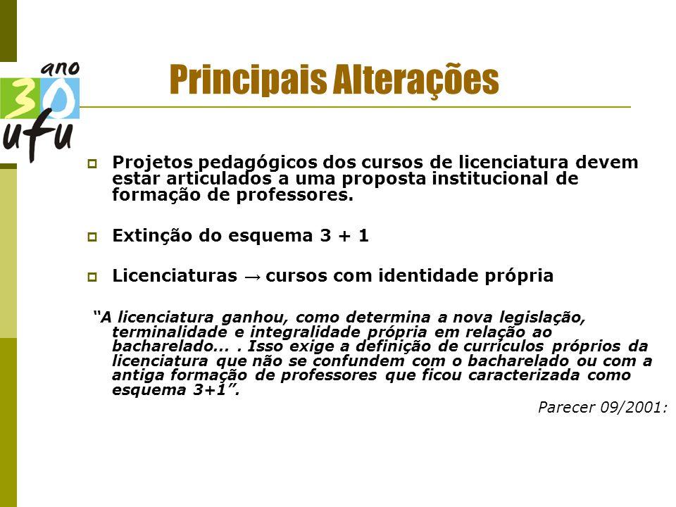 Principais Alterações  Projetos pedagógicos dos cursos de licenciatura devem estar articulados a uma proposta institucional de formação de professores.