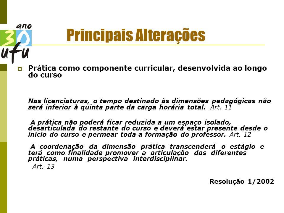 Principais Alterações  Prática como componente curricular, desenvolvida ao longo do curso Nas licenciaturas, o tempo destinado às dimensões pedagógicas não será inferior à quinta parte da carga horária total.