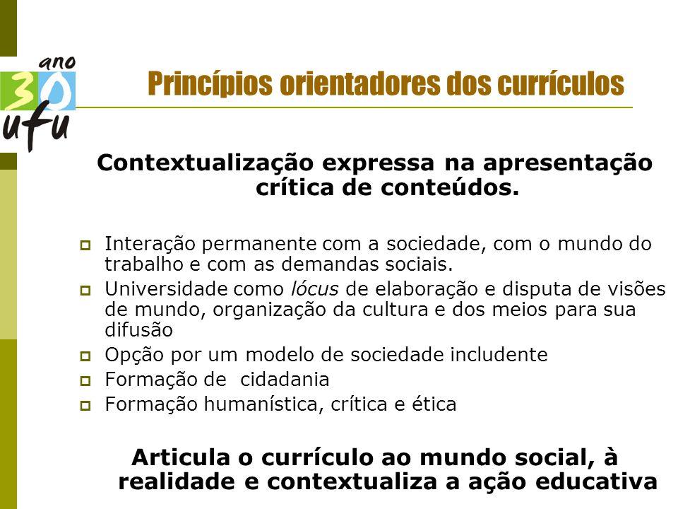Princípios orientadores dos currículos Contextualização expressa na apresentação crítica de conteúdos.