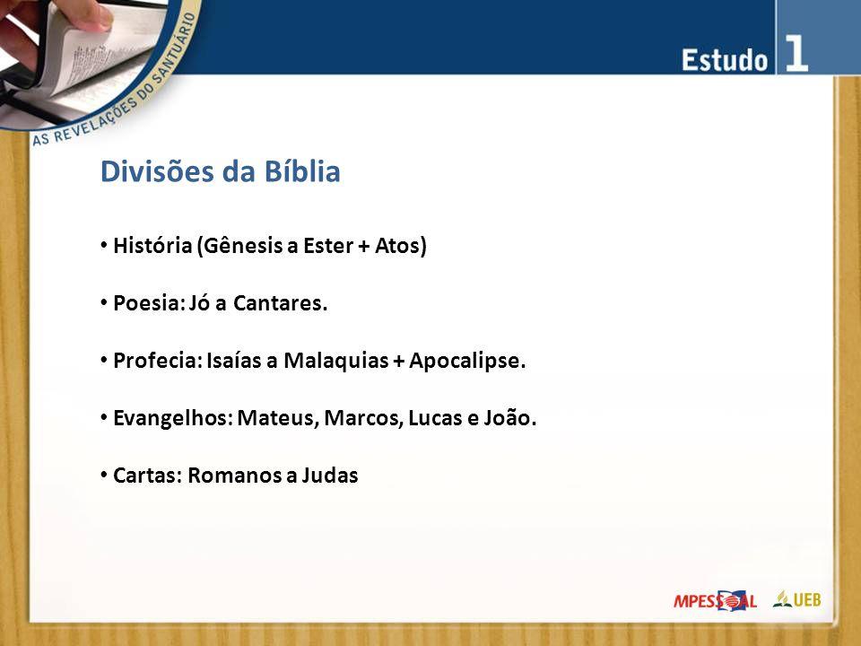 Divisões da Bíblia História (Gênesis a Ester + Atos) Poesia: Jó a Cantares.