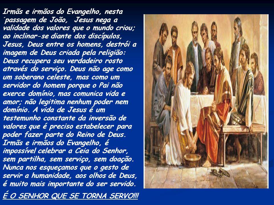 Neste Evangelho, João não menciona a partilha do pão e do vinho. O sentido da eucaristia, contudo, está expresso no ato do lava-pés. Jesus ensina aos