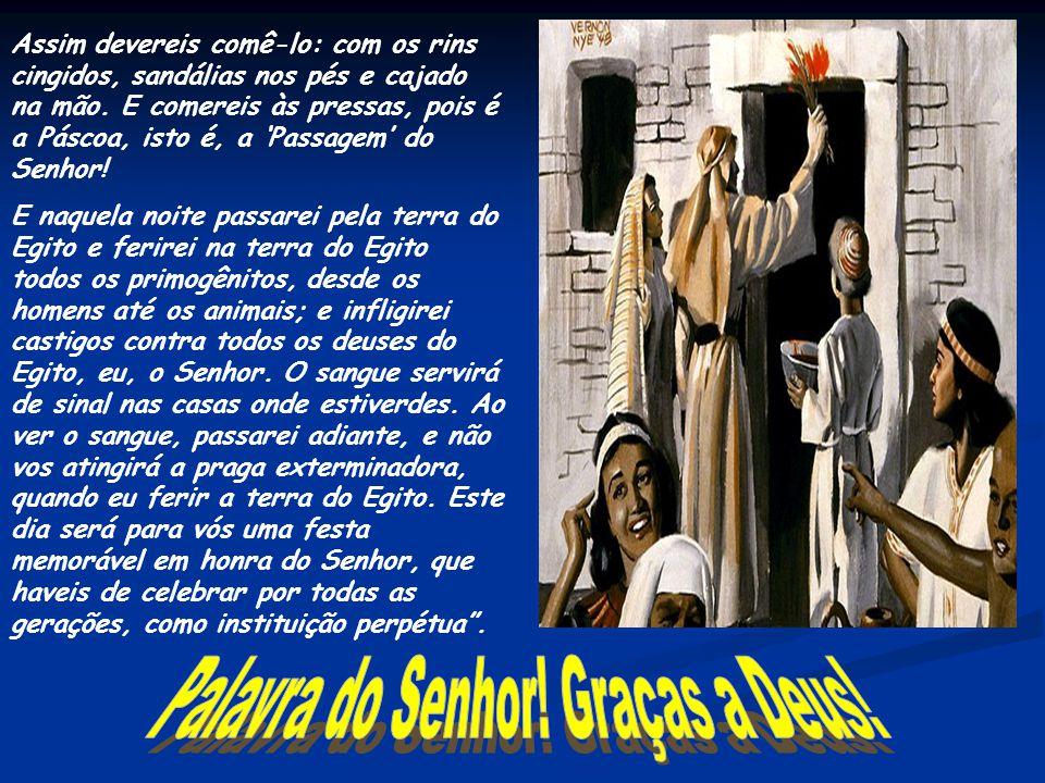 """Leitura do Livro do Êxodo - Ex 12, 1-8.11-14 Naqueles dias, o Senhor disse a Moisés e a Aarão no Egito: """"Este mês será para vós o começo dos meses; se"""