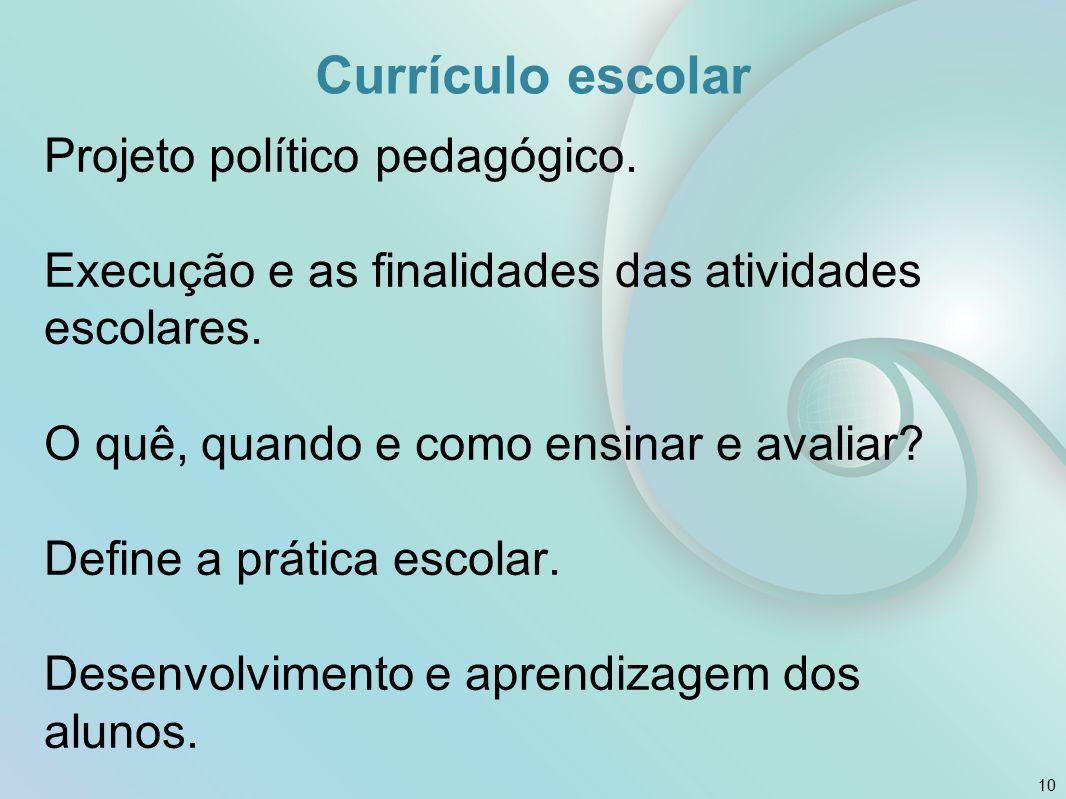 Currículo escolar Projeto político pedagógico. Execução e as finalidades das atividades escolares. O quê, quando e como ensinar e avaliar? Define a pr