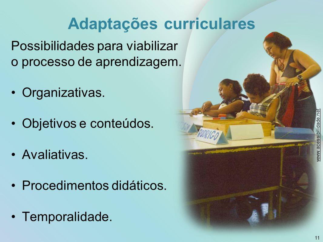 Adaptações curriculares Possibilidades para viabilizar o processo de aprendizagem. Organizativas. Objetivos e conteúdos. Avaliativas. Procedimentos di