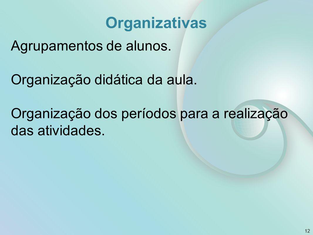 Organizativas Agrupamentos de alunos. Organização didática da aula. Organização dos períodos para a realização das atividades. 12