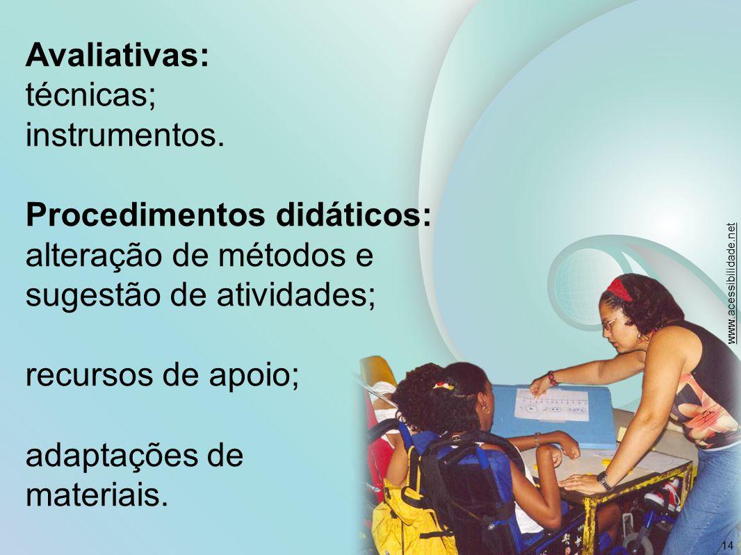 Avaliativas: técnicas; instrumentos. Procedimentos didáticos: alteração de métodos e sugestão de atividades; recursos de apoio; adaptações de materiai