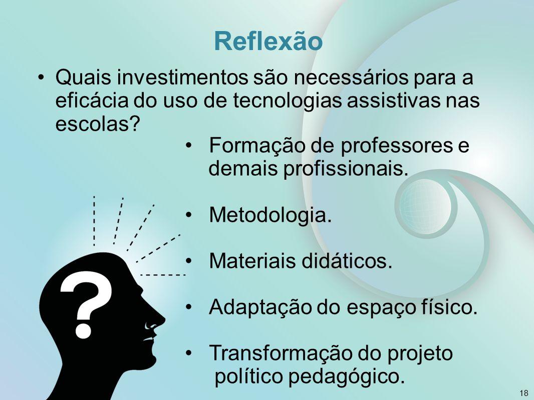 18 Reflexão Quais investimentos são necessários para a eficácia do uso de tecnologias assistivas nas escolas? Formação de professores e demais profiss