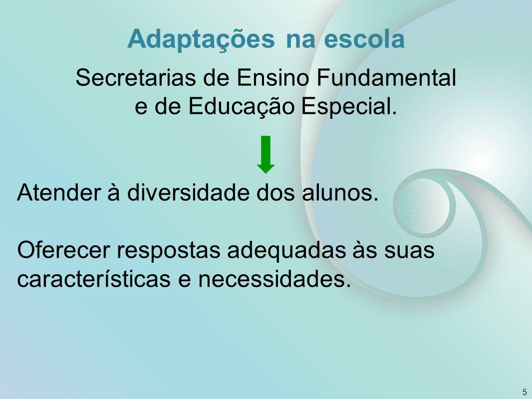 Adaptações na escola Secretarias de Ensino Fundamental e de Educação Especial. Atender à diversidade dos alunos. Oferecer respostas adequadas às suas