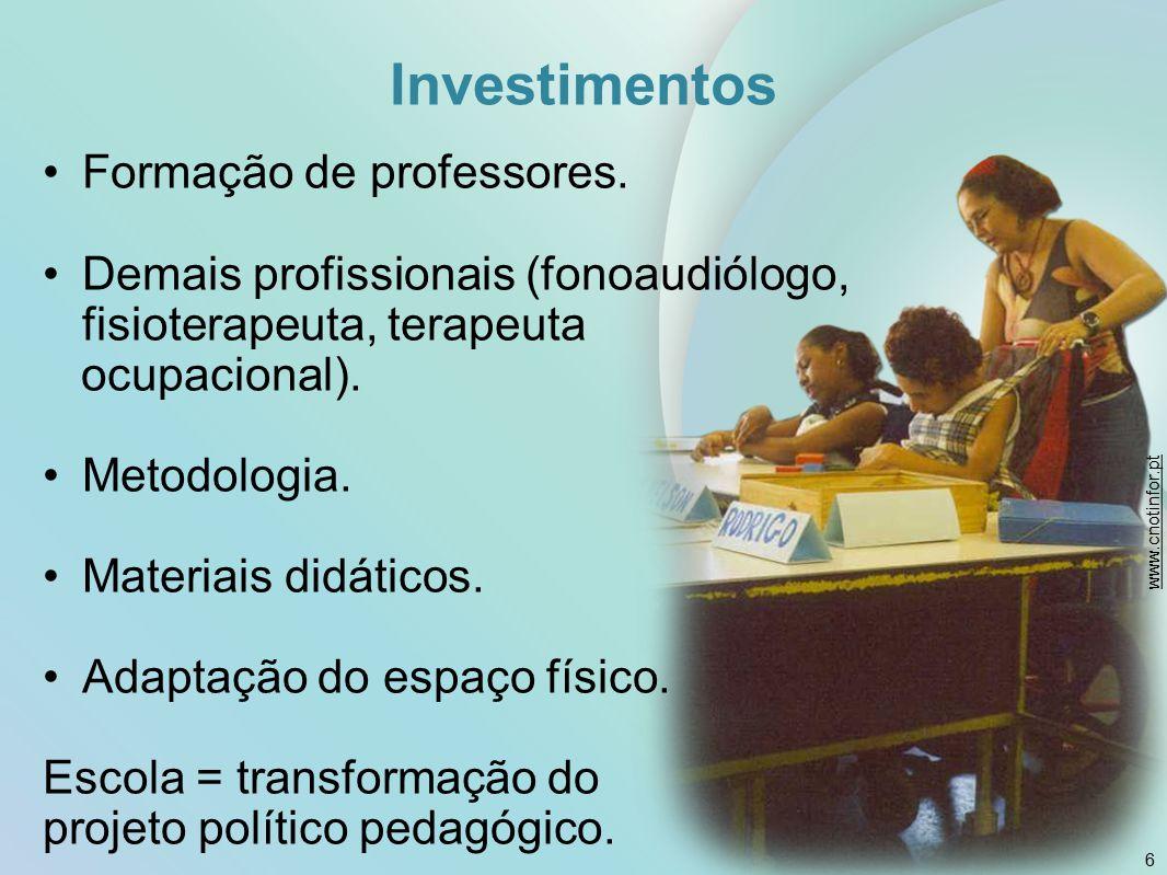 Investimentos Formação de professores. Demais profissionais (fonoaudiólogo, fisioterapeuta, terapeuta ocupacional). Metodologia. Materiais didáticos.