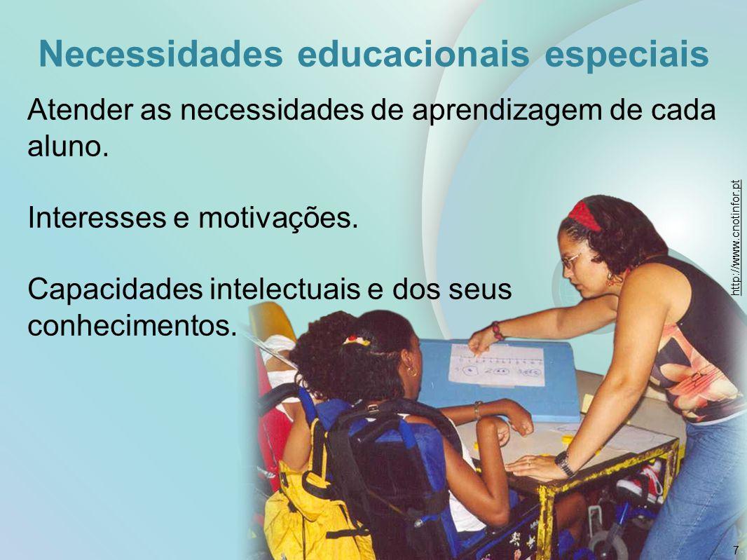 Necessidades educacionais especiais Atender as necessidades de aprendizagem de cada aluno. Interesses e motivações. Capacidades intelectuais e dos seu