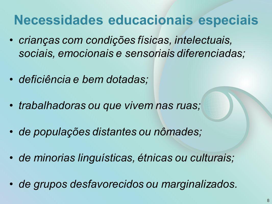 Necessidades educacionais especiais crianças com condições físicas, intelectuais, sociais, emocionais e sensoriais diferenciadas; deficiência e bem do