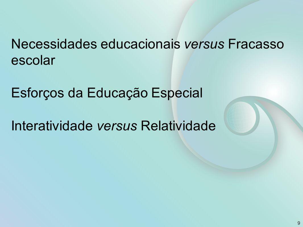 Necessidades educacionais versus Fracasso escolar Esforços da Educação Especial Interatividade versus Relatividade 9