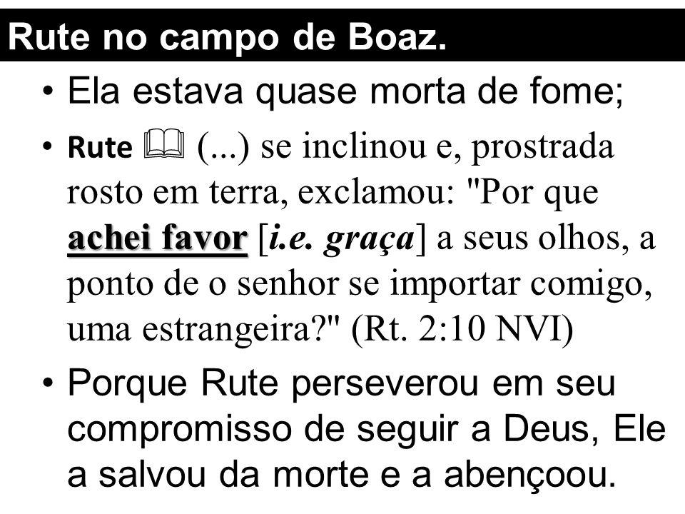 Rute no campo de Boaz. Ela estava quase morta de fome; achei favor Rute  (...) se inclinou e, prostrada rosto em terra, exclamou:
