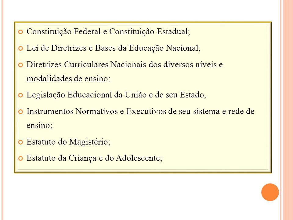 Constituição Federal e Constituição Estadual; Lei de Diretrizes e Bases da Educação Nacional; Diretrizes Curriculares Nacionais dos diversos níveis e