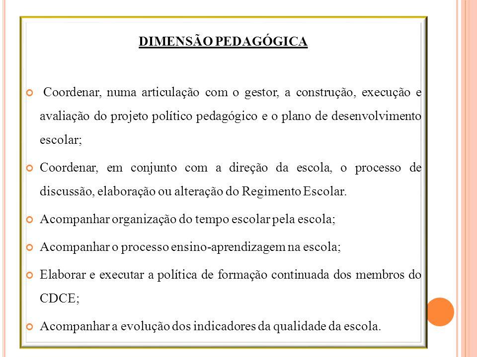 DIMENSÃO PEDAGÓGICA Coordenar, numa articulação com o gestor, a construção, execução e avaliação do projeto político pedagógico e o plano de desenvolv