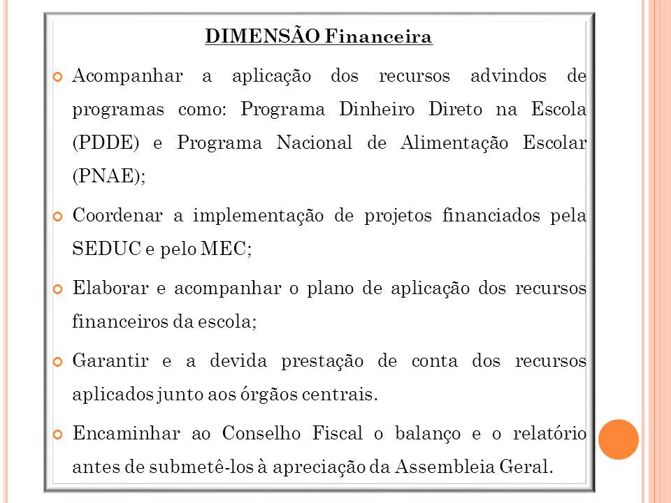 DIMENSÃO Financeira Acompanhar a aplicação dos recursos advindos de programas como: Programa Dinheiro Direto na Escola (PDDE) e Programa Nacional de A