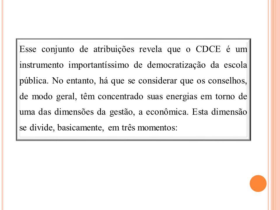 Esse conjunto de atribuições revela que o CDCE é um instrumento importantíssimo de democratização da escola pública. No entanto, há que se considerar