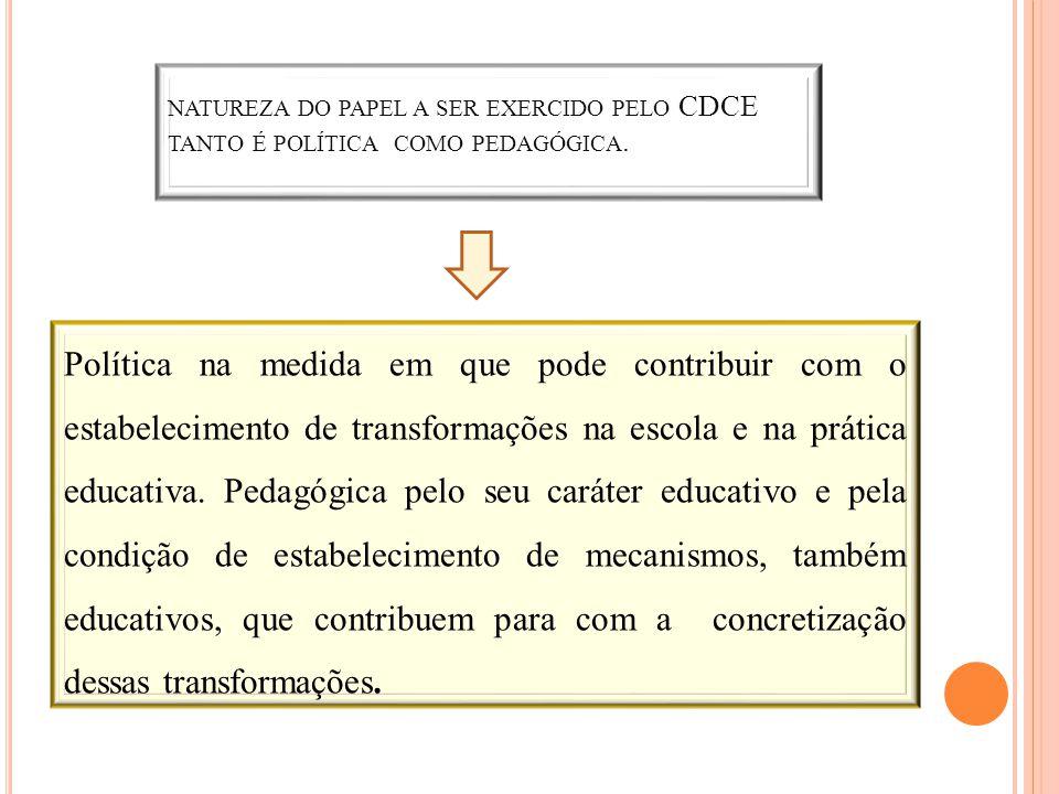 NATUREZA DO PAPEL A SER EXERCIDO PELO CDCE TANTO É POLÍTICA COMO PEDAGÓGICA. Política na medida em que pode contribuir com o estabelecimento de transf