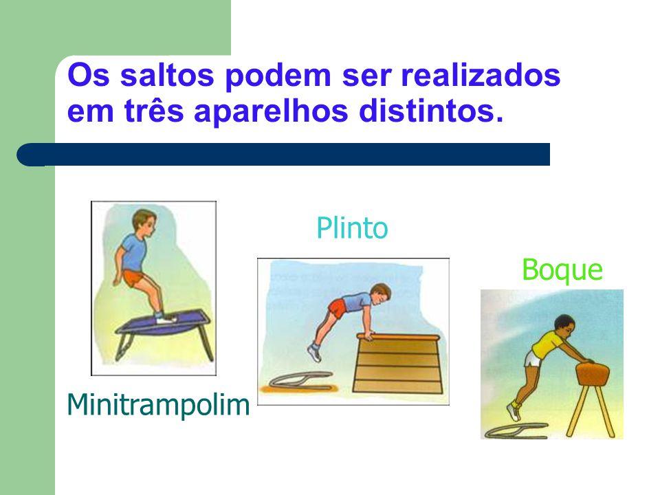 Os saltos podem ser realizados em três aparelhos distintos. Minitrampolim Plinto Boque